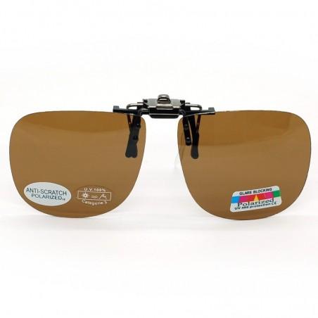 Hnedý slnečný vyklápací klip na dioptrické okuliare 108-9