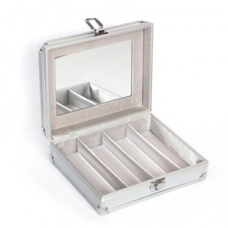 Kazeta hliníková na okuliare so rzkadlom - box 4 prepážky
