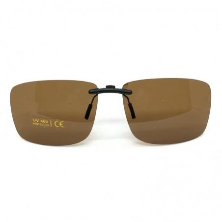 Hnedý pevný šoférsky slnečný klip na dioptrické okuliare